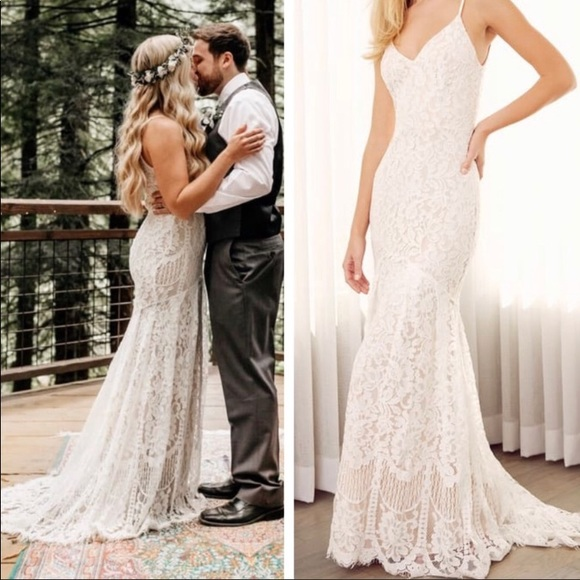 Lulu's Dresses & Skirts - SOLD Lulu's White Flynn Lace Wedding Gown Size XS